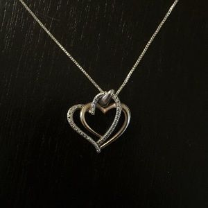EUC Sterling silver/rose gold 2 heart necklace